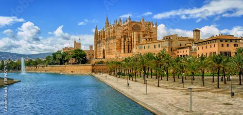 Leinwandbild Motiv La Seu, the gothic medieval cathedral of Palma de Mallorca, Spain