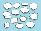 Set of comic art speech bubbles with halftone. Vector illustration - 189701947