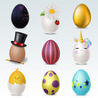 Realistic 3D vector easter eggs isolated set.