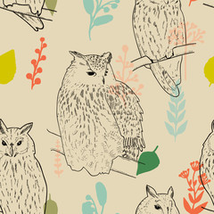 Sketch hand drawn owls, background, seamless pattern
