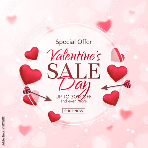 Vector template of sale banner for Valentine's Day with red hearts and arrows. Holiday pink background for design of flyers with discount offers. With place for text.