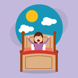 girl in bed waking up in the morning with cloud and sun vector illustration - 189717384
