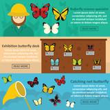Butterfly desk banner horizonatal set, flat style