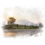 Country road through the tree and mountain with beautiful sky background . Watercolor painting (retouch). - 189720506