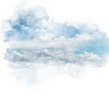 Blue sky with white cloud. Artistic natural abstract background. Watercolor painting (retouch). - 189720525