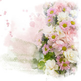 Watercolor painting (retouch) illustration of blossom flower. Artistic floral abstract background. - 189720535