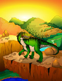 Cute cartoon baryonyx with landscape background. Vector illustration of a cartoon dinosaur.