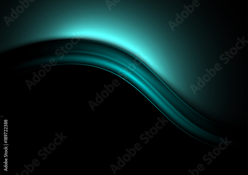 Deurstickers Abstract wave Azure waves on a dark background