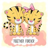 Cute Cartoon Tigers boy and girl