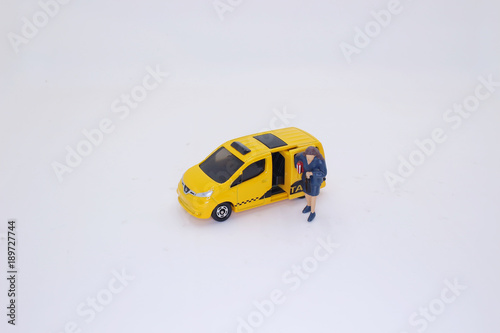 Staande foto New York TAXI a modern Yellow cab withe the business figure