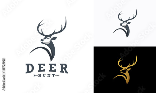 Aluminium Hipster Hert Deer Hunt Logo template, Elegant Deer Head logo designs vector