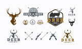 Set of Deer Hunt logo designs vector, Badge of Deer Hunt logo collection