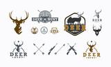 Set of Deer Hunt logo designs vector, Badge of Deer Hunt logo collection - 189730177