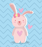 cute rabbit female with hearts design
