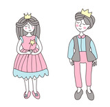 The Prince and Princess. Vector illustration in simple style, isolated on white background.