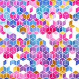 Watercolor mosaic. Bright summer pattern with watercolor cubes. - 189731913