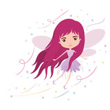 girly fairy flying with wings and long hair colorful sparks and stars on white background vector illustration