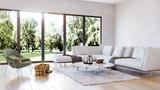 modern interior living room, garden view perspective - 189740566