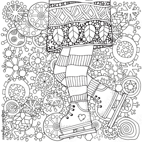Winter girl on skates. Winter snowflakes. Adult Coloring book page ...