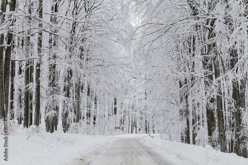 Foto op Aluminium Donkergrijs Winter landscape of the mountain road
