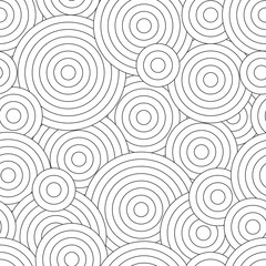 Black and white seamless pattern for coloring book in doodle style. Swirls, ringlets.
