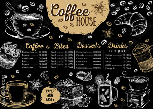 Coffee house menu. Restaurant cafe menu, template design. Food flyer. - 189742752
