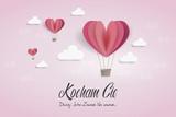 """Balony w kształcie serca na niebie z napisem """"Kocham Cię. Dzisiaj. Jutro. Zawsze. Na zawsze..."""""""