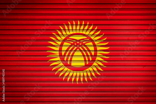 Fotobehang Rood traf. Kyrgyzstan Central Asia Flag sign in iron garage door texture, flag background