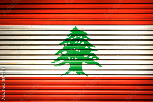 Foto op Canvas Rood Lebanon Middle East, Western Asia Flag sign in iron garage door texture, flag background
