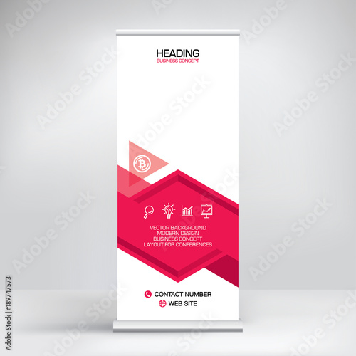 Exhibition Stand Information : Banner roll up vector red graphic template for the exhibition stand