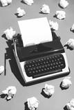 Oldschool typewriter and creased paper. - 189753108
