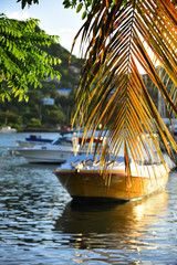 Sail boats anchored in the bay in St George's cruise port, capital of Grenada, the Caribbean.