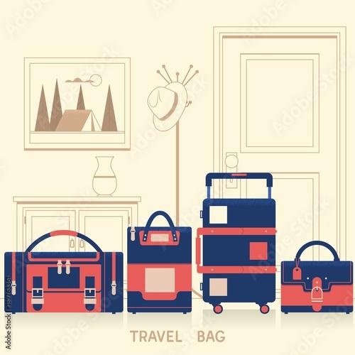 Travel bag for traveling design. Flat vector illustration