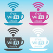 free wi fi sign sticker, free wifi coffee cup, free wi-fi label icon