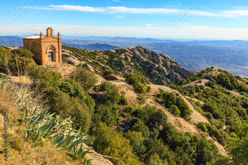 Tuinposter Barcelona View from the mountain near the monastery of Montserrat. Catalonia, Spain.