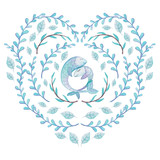 Watercolor Heart Shape Wreath with Leaves and Fishes - 189769317