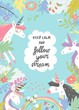 Cute magic frame composed of unicorns and flowers