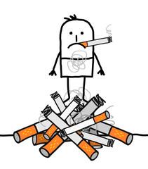 Cartoon Man on a Big Pile of Cigarettes