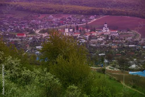 Foto op Canvas Aubergine Typical rural landscape, Moldova