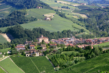 Barolo medieval town in Piedmont aerial view, northern Italy hills