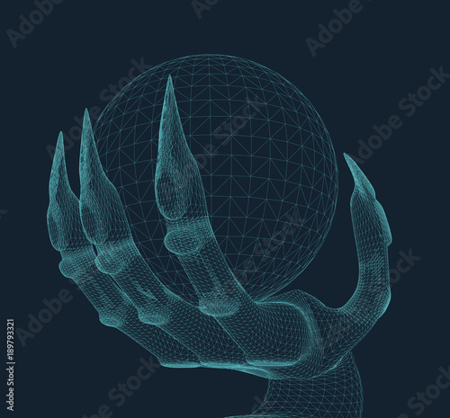 hand-of-a-monster-holding-a-magic-orb-illustrated-in-3d-hologram-wire-frame-style