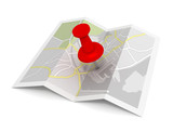 pushpin on map concept  3d illustration