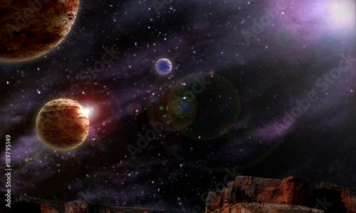 background Starry night sky planets