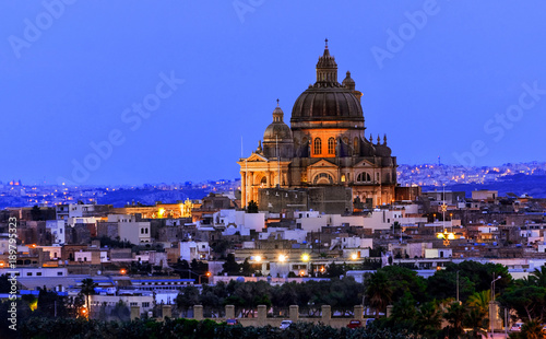 Rotunda of St. John the Baptist, Victoria city, Gozo island, Malta at sunset