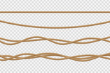 Vector realistic isolated rope for decoration and covering on the transparent background. - 189804124