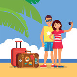 vector illustration of young touristic couple on  tropical island - 189806303
