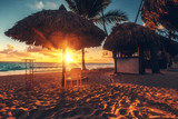 Caribbean vacation, beautiful sunrise over tropical beach. Punta Cana resort.