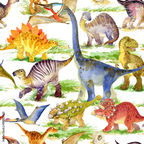 Cotton fabric cute dinosaurs seamless pattern