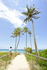 Palm trees line the beach walking track at Main Beach on the Gold Coast, Queensland, Australia.