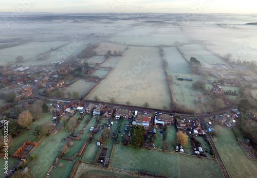 Fotobehang Donkergrijs Aerial village
